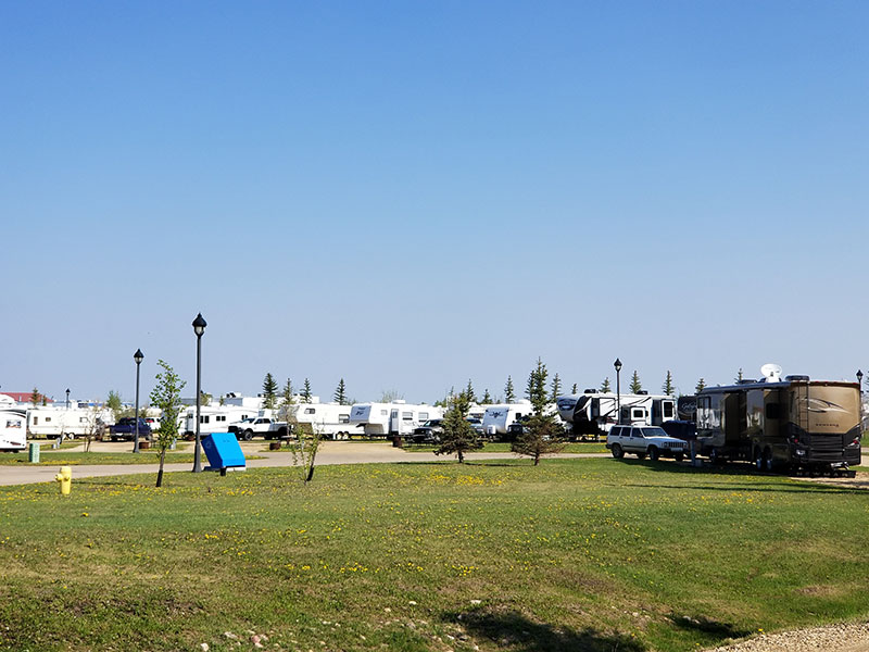 The Camrose Trail RV Park with RV Trailers Parked